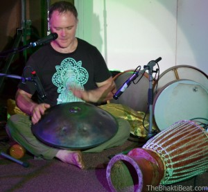 John de Kadt on hang drum, by TheBhaktiBeat.com