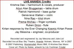 Krishna Das LIVE ANANDA credits, on TheBhaktiBeat.com