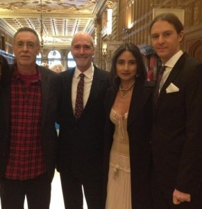 'Baba Plaid' at the Grammys. L-R: Krishna Das, Steve Ross, Nina Rao, Arjun Bruggeman.  Photo by Amy Dewhurst