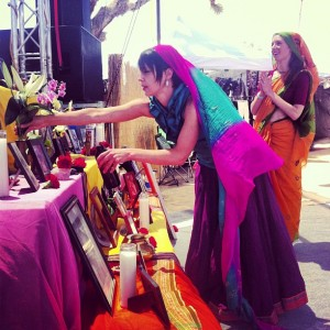 Altar at Shakti Fest, by Kamaniya Devi on TheBhaktiBeat.com