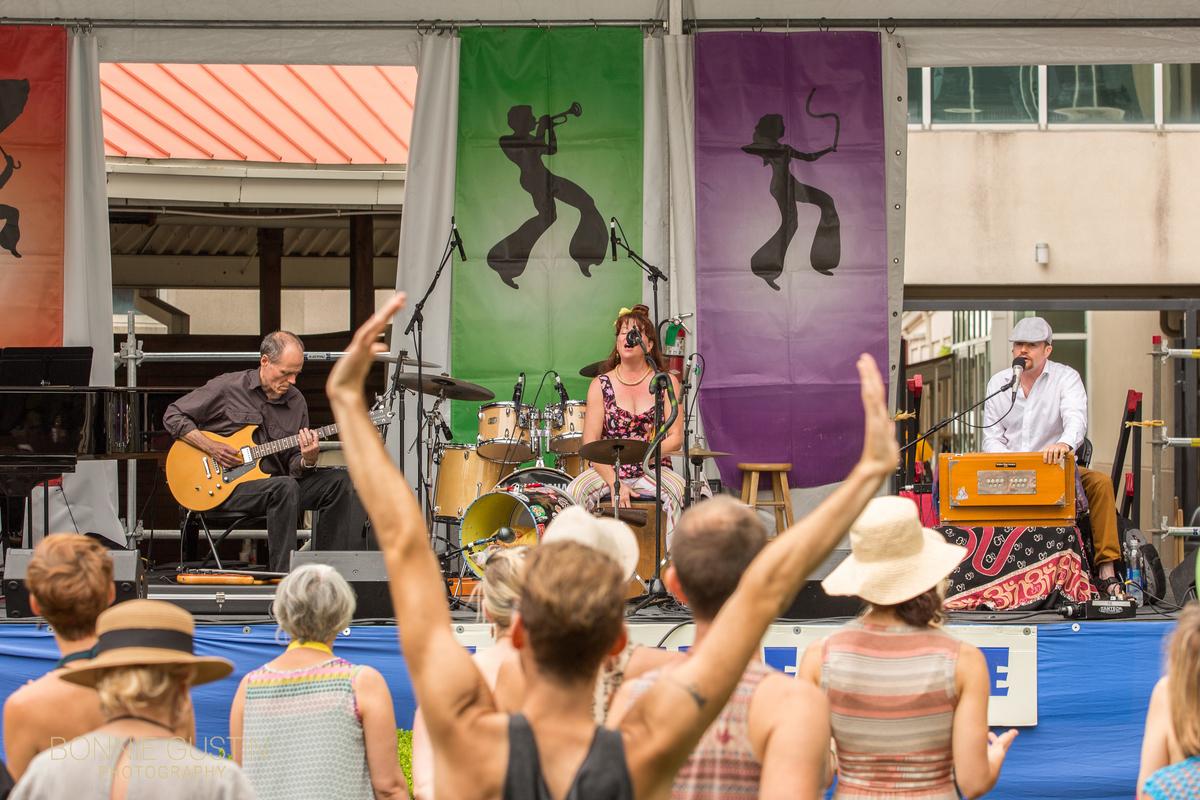 Crowd Arms Raised Jazz Fest 2015